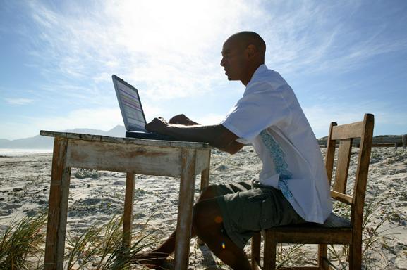 Man working on a beach