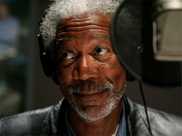 Morgan Freeman in front of a Microphone