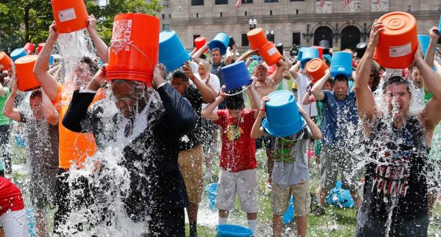 Ice bucket challenge group of people