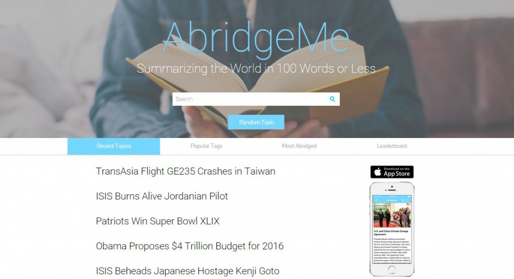 Summarize The World In 100 Words Or Less With AbridgeMe!